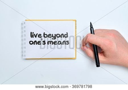 Live Beyond One Means - English Money Idiom Hand Lettering On Wooden Blocks