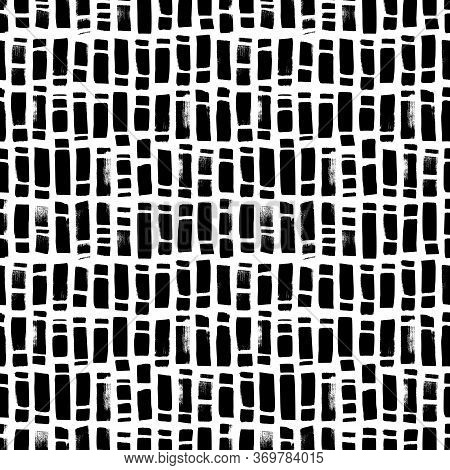 Regular Rectangle Brush Strokes Vector Seamless Pattern. Hand Drawn Abstract Background. Ink Brush S