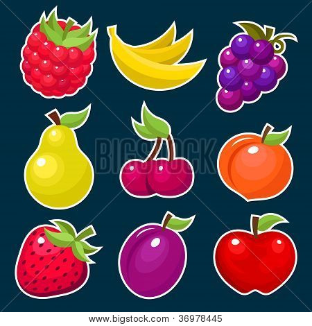 Colorful Fruit and Berry Icons