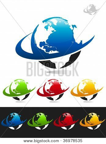 Swoosh Planet Earth Icons