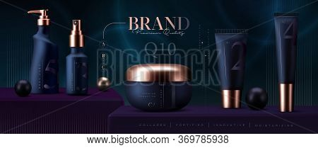Elegant Cosmetic Products Set Background. Vector 3d Premium Cream Jar For Skin Care Products. Luxury