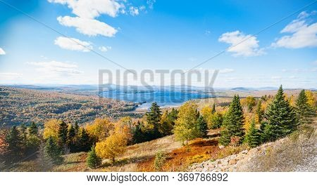 Wide Landscape From Slopes Around Picturesque Mooselookmeguntic Lake In Maine Usa.