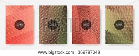 Zig Zag Lines Halftone Banner Templates Set, Vector Backgrounds For   Cover Layouts. Bright Zig Zag