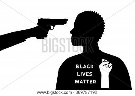The White Man Put The Gun To The Black Mans Head. Black Lives Matter.