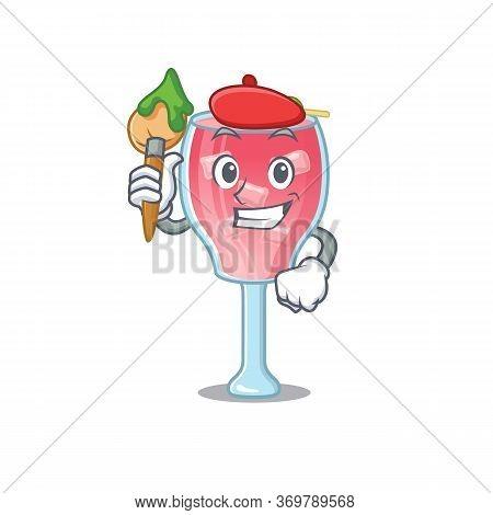 An Artistic Cosmopolitan Cocktail Artist Mascot Design Paint Using A Brush