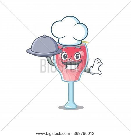 Mascot Design Of Cosmopolitan Cocktail Chef Serving Food On Tray