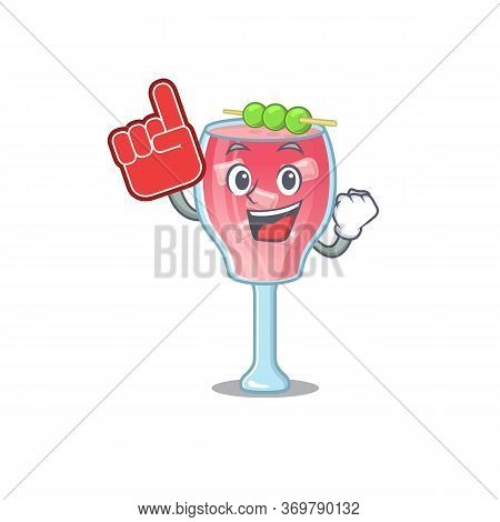 Cosmopolitan Cocktail In Cartoon Drawing Character Design With Foam Finger