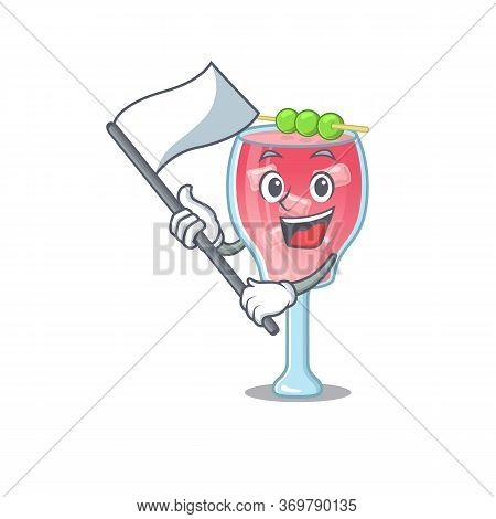 A Heroic Cosmopolitan Cocktail Mascot Character Design With White Flag