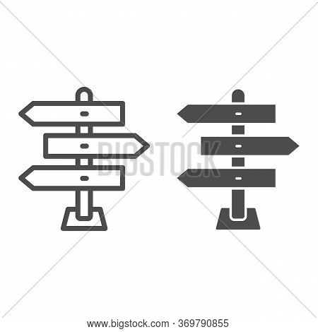 Wooden Arrow Signboards Line And Solid Icon, Travel Concept, Wooden Way Direction Sign On White Back