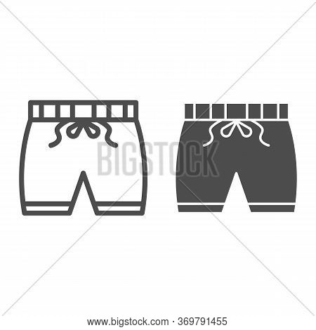 Shorts Line And Solid Icon, Summer Concept, Swim Shorts Sign On White Background, Swimming Trunks Ic