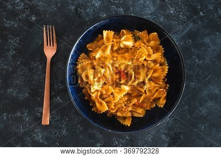 Plant-based Food, Vegan Bowtie Pasta With Red Pesto And Mediterranean Vegetables