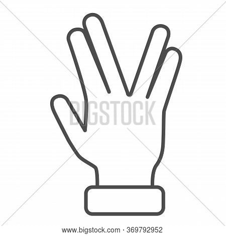 Four Fingers Gesture Thin Line Icon, Gestures Concept, Vulcan Salute Hand Sign On White Background,
