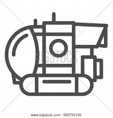 Bathyscaphe Line Icon, Ocean Concept, Military Submarine Sign On White Background, Underwater Bathys