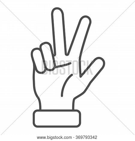 Hand Showing Three Fingers Thin Line Icon, Hand Gestures Concept, Three Finger Gesture Sign On White