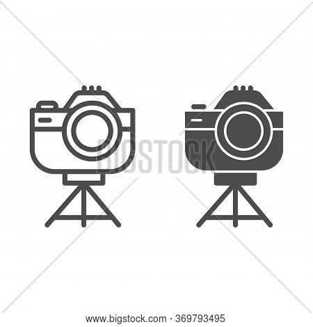 Photo Camera On Tripod Line And Solid Icon, Device Concept, Camera On Stand Sign On White Background