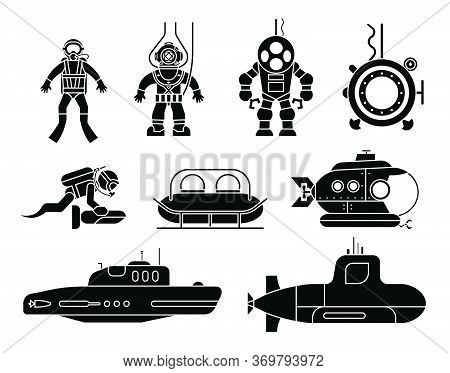 Collection Of Icons Presenting Different Models Of Diving Suit And Submarines. Set Of Icons Of Under