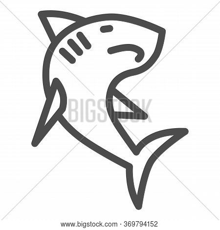 Shark Line Icon, Ocean Concept, Danger Marine Fish Sign On White Background, Shark Silhouette Icon I