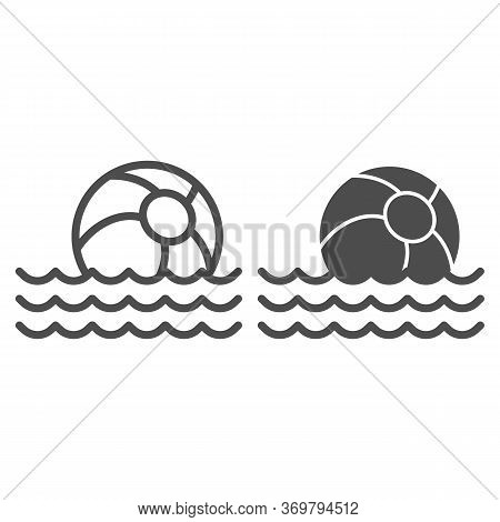 Beach Ball On Waves Line And Solid Icon, Summer Concept, Toy Ball Floating On Water Sign On White Ba