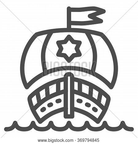 Sailboat In Ocean Line Icon, Nautical Concept, Sailing Ship Sign On White Background, Sailing Vessel