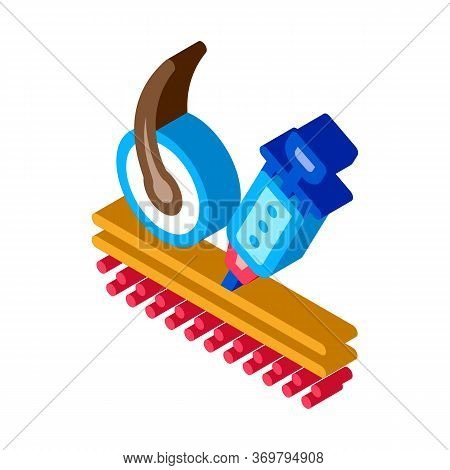 Syringe Injection Icon Vector. Isometric Syringe Injection Sign. Color Isolated Symbol Illustration