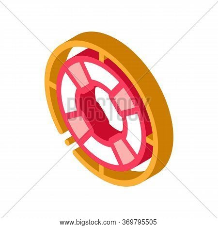 Lifebuoy Circle Icon Vector. Isometric Lifebuoy Circle Sign. Color Isolated Symbol Illustration