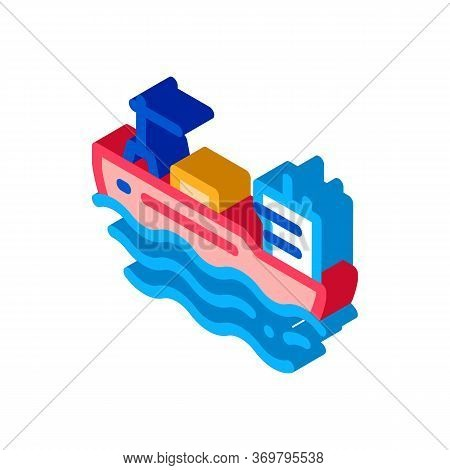 Tanker At Sea Icon Vector. Isometric Tanker At Sea Sign. Color Isolated Symbol Illustration