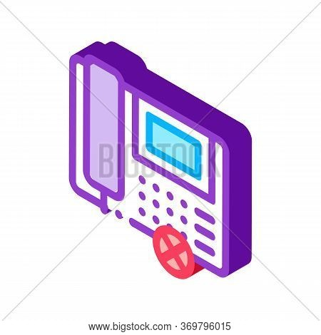 Broken Telephone Icon Vector. Isometric Broken Telephone Sign. Color Isolated Symbol Illustration