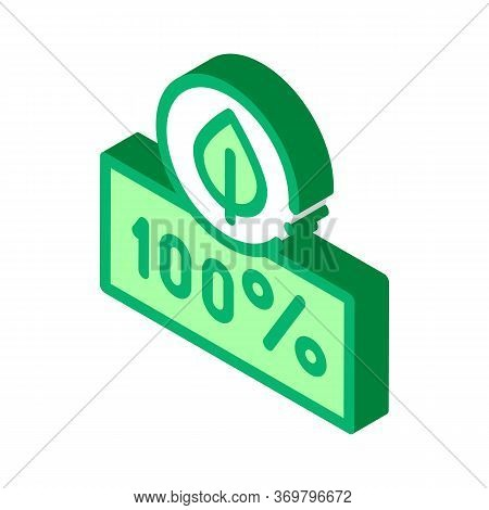 Hundred Percent Icon Vector. Isometric Hundred Percent Sign. Color Isolated Symbol Illustration
