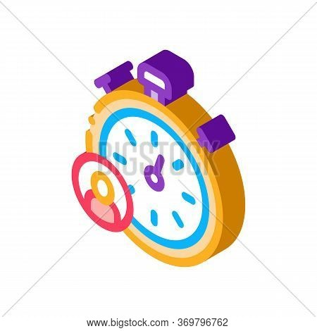 Stopwatch Human Icon Vector. Isometric Stopwatch Human Sign. Color Isolated Symbol Illustration