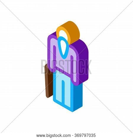 Elder Man Stick Icon Vector. Isometric Elder Man Stick Sign. Color Isolated Symbol Illustration