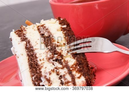 Tasty Cake As Dessert For Different Occasions And Cup Of Black Coffee