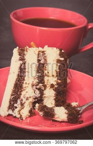 Fresh Tasty Cake As Dessert For Different Occasions And Cup Of Black Coffee