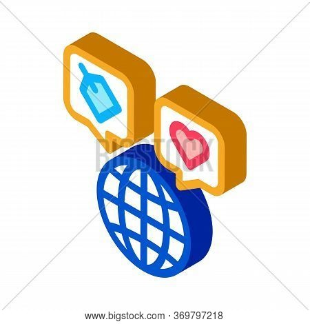Worldwide Globe Icon Vector. Isometric Worldwide Globe Sign. Color Isolated Symbol Illustration