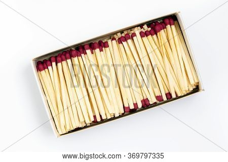 Wite Cardboard Box With Match Sticks Isolated