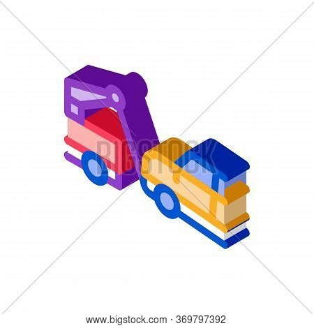 Towing Broken Car Icon Vector. Isometric Towing Broken Car Sign. Color Isolated Symbol Illustration