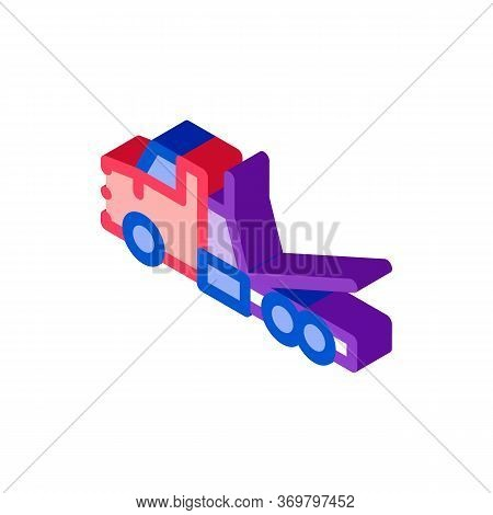 Tow Trick Service Icon Vector. Isometric Tow Trick Service Sign. Color Isolated Symbol Illustration
