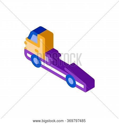 Tow Cargo Truck Icon Vector. Isometric Tow Cargo Truck Sign. Color Isolated Symbol Illustration