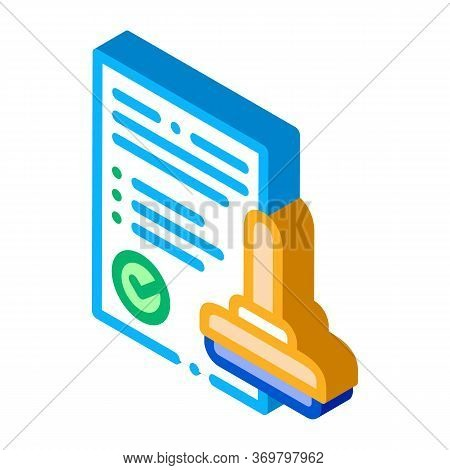 Approve Stamp Icon Vector. Isometric Approve Stamp Sign. Color Isolated Symbol Illustration