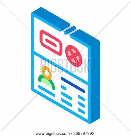 Passport Denial Icon Vector. Isometric Passport Denial Sign. Color Isolated Symbol Illustration