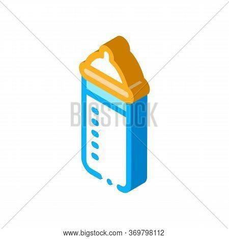 Feeding Bottle Icon Vector. Isometric Feeding Bottle Sign. Color Isolated Symbol Illustration
