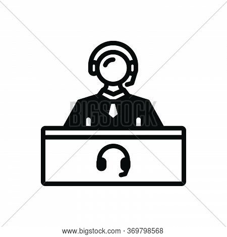 Black Solid Icon For Support-center Center Consulting Helpline Person Support Telemarketing