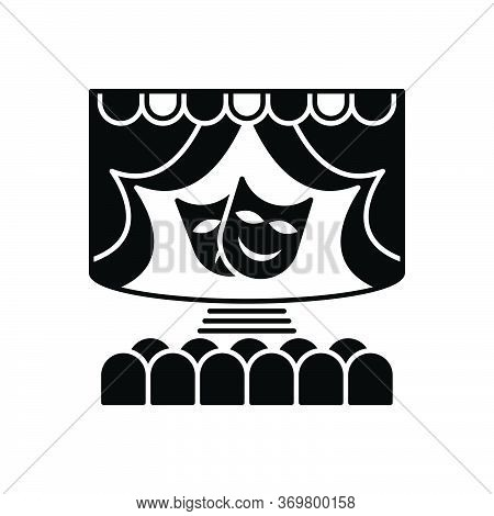 Black Solid Icon For Theatre Theater-stage   Stage Spotlight Audience Cinema Performance