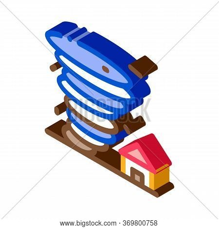 Tornado House Icon Vector. Isometric Tornado House Isometric Sign. Color Isolated Symbol Illustratio