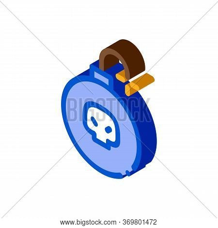 Burning Bomb Icon Vector. Isometric Burning Bomb Isometric Sign. Color Isolated Symbol Illustration