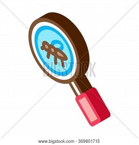 Mosquito Search Icon Vector. Isometric Mosquito Search Isometric Sign. Color Isolated Symbol Illustr