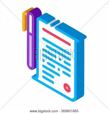Agreement Pen Icon Vector. Isometric Agreement Pen Isometric Sign. Color Isolated Symbol Illustratio