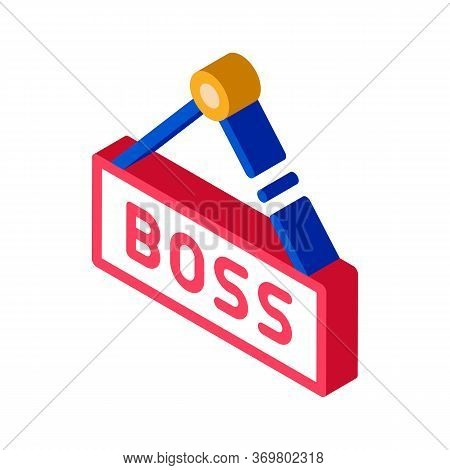 Boss Nameplate Icon Vector. Isometric Boss Nameplate Isometric Sign. Color Isolated Symbol Illustrat