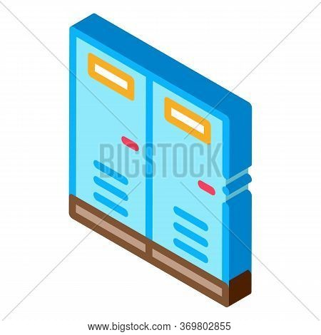Locker Rooms Icon Vector. Isometric Locker Rooms Sign. Color Isolated Symbol Illustration