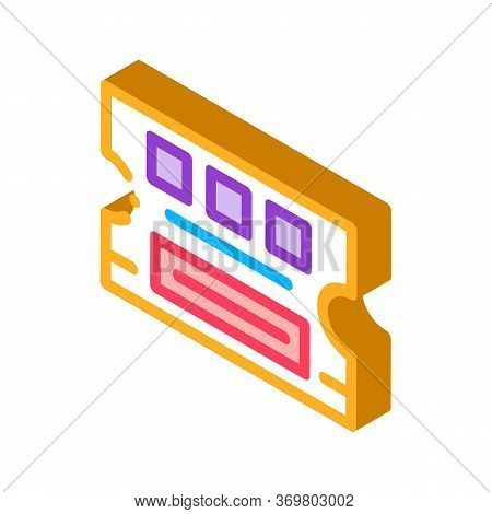 Lottery Ticket Icon Vector. Isometric Lottery Ticket Sign. Color Isolated Symbol Illustration