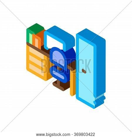 Workplace Rooms Icon Vector. Isometric Workplace Rooms Sign. Color Isolated Symbol Illustration